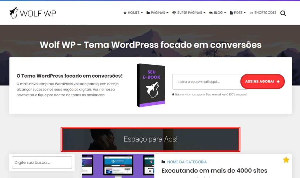 Anúncios em locais estratégicos - Tema Profissional WordPress Wolf WP 2.0