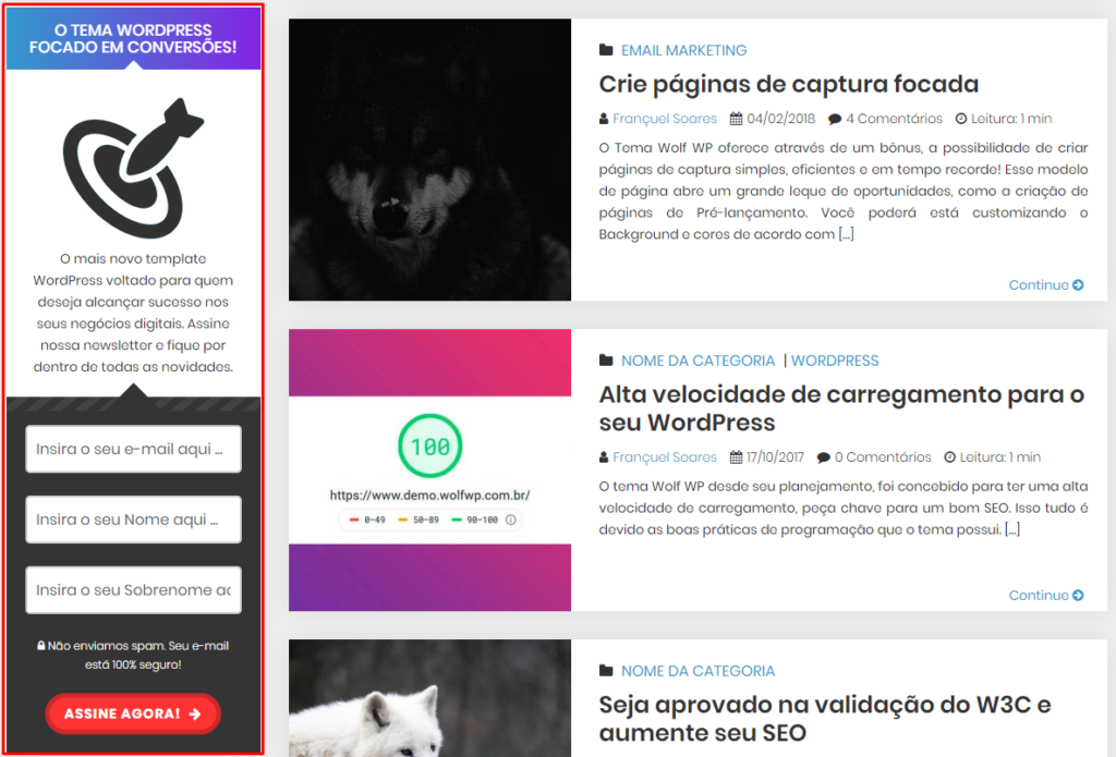 Captura de email barra lateral tema wolf wp wordpress