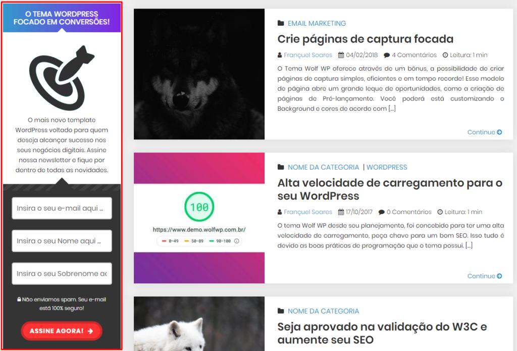 Captura de email barra lateral tema wolf wp wordpress