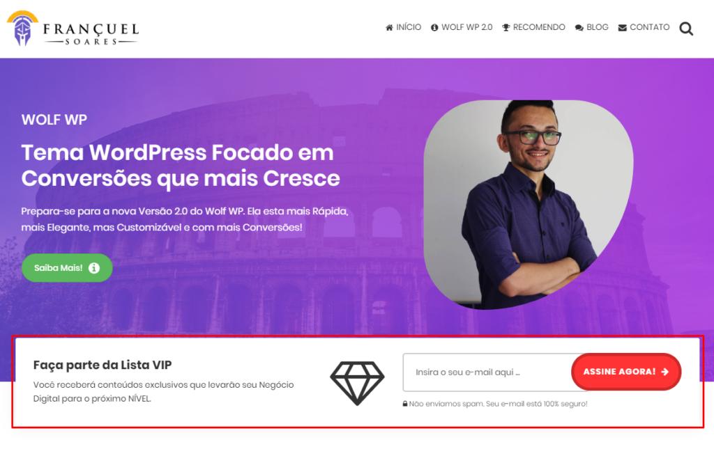 Captura de Email no Topo Tema Profissional WordPress Wolf WP 2.0