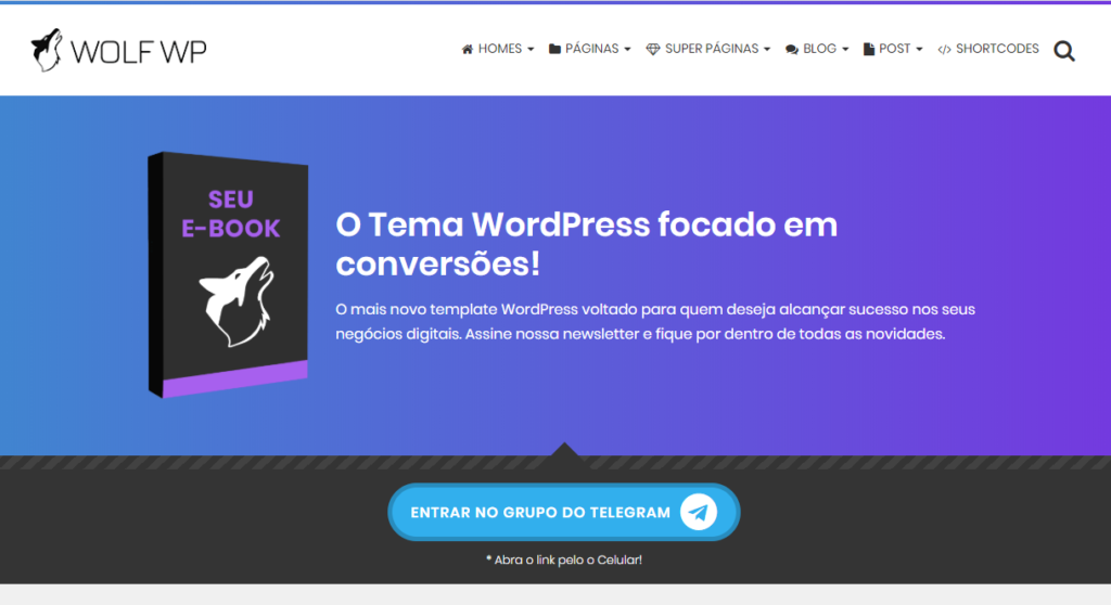 Capturar Lead para o Grupo do Telegram Tema WordPress Wol WP