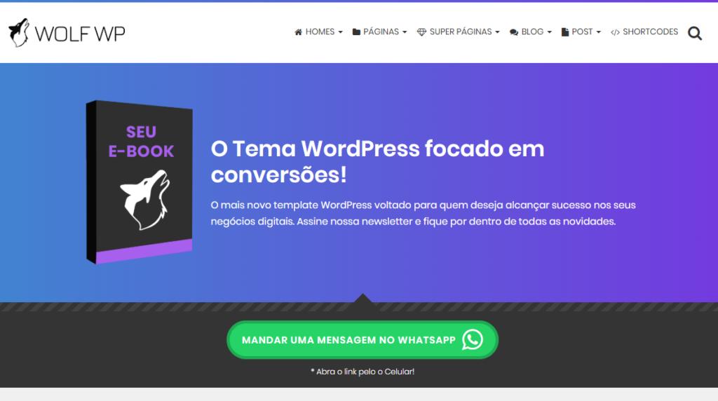Capturar Lead para o Grupo do WhatsApp Tema WordPress Wol WP