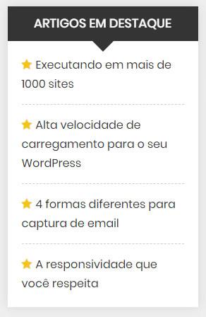 Widget WordPress Artigos em Destaque Barra Lateral